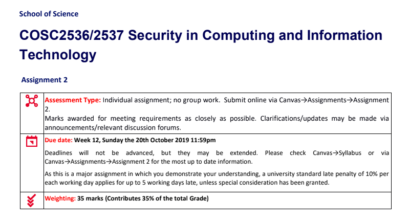 COSC2536/2537 Security in Computing and Information Technology Assignments